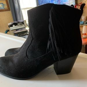 Black Brash fringe heel booties